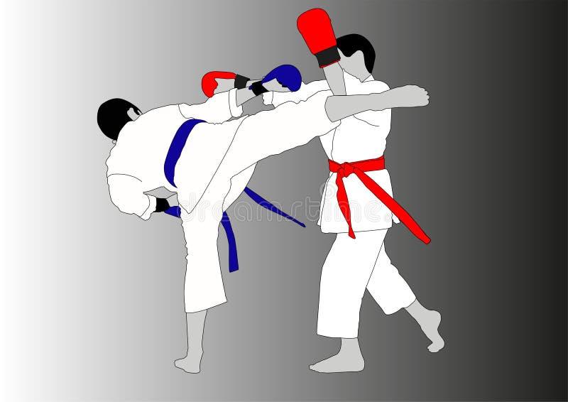 Athleten kämpfen im Kimono mit verschiedenen Handschuhen und Gurten lizenzfreie abbildung