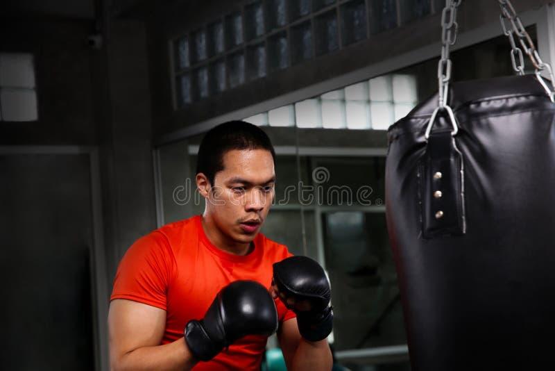 Athleten lochen in der Turnhalle Männliche Aktion eines boxenden fighte lizenzfreie stockfotos