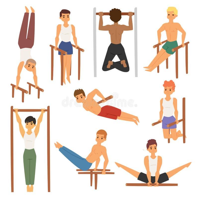 Athleten-Mannturnhalle des horizontalen Kinns-oben der Karikatur betrügt die starke, die Stangenübungs-Straßentraining tut, musku vektor abbildung