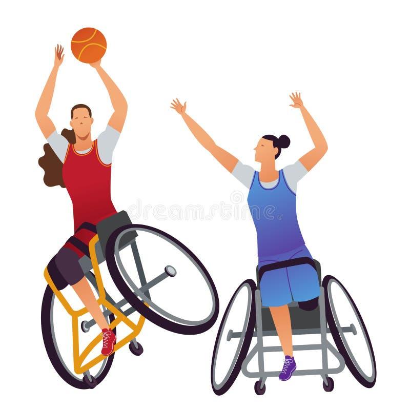 Athleten mit Körperbehinderungen Frauen-Rollstuhl-Basketball vektor abbildung