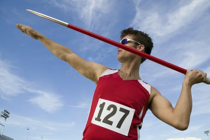Athleten-About To Throw-Speer stockbild