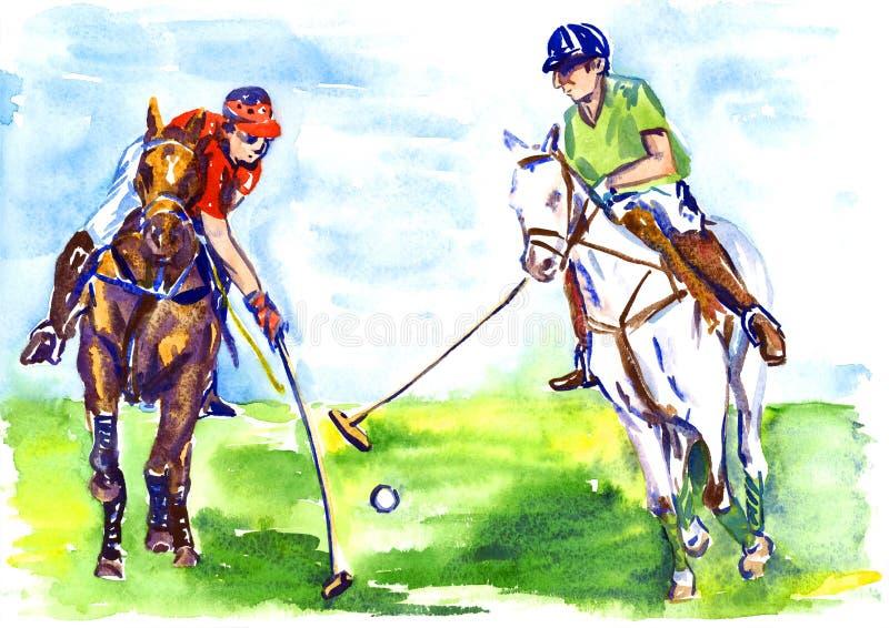 Athleten zu Pferd, die Polo am sonnigen Sommertag spielen lizenzfreie abbildung