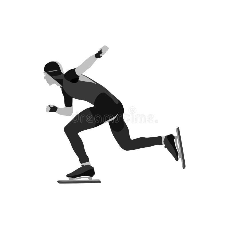 Athletengeschwindigkeitsschlittschuhläufer stock abbildung