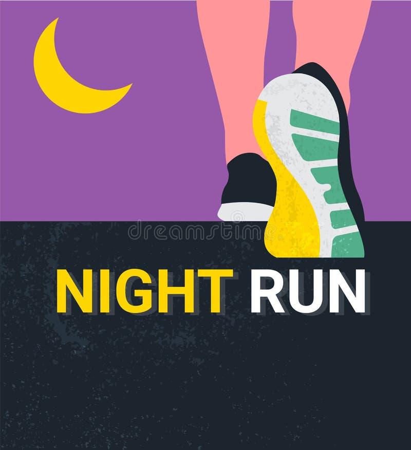 Athletenläuferfüße, die auf Straße laufen oder gehen laufende Plakatschablone Nahaufnahmeillustrationsvektor nigth Lauf stock abbildung