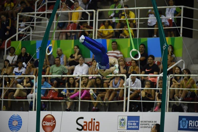 Athletes of artistic gymnastcs. Rio de Janeiro - Brazil, athletes of artistic gymnastics royalty free stock photography