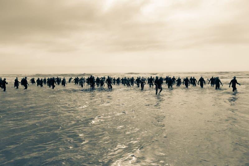 Athletes Beach Ocean Swim Triathlon Start. Triathlon beach athlete silhouetted swim race start in ocean water course at dawn sunrise in vintage tones stock photography