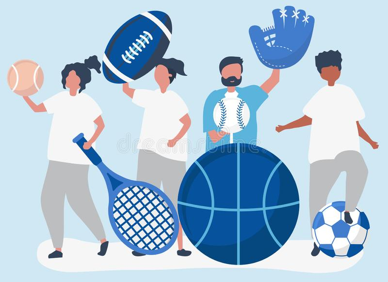 Athletes carrying different sport icons royalty free illustration