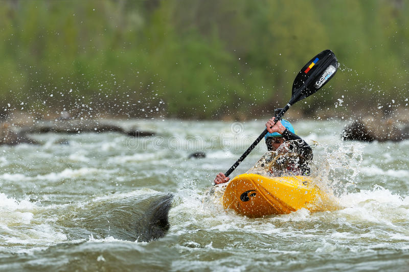 Athletes compete during 2016 Buzau X racee kayak endurance race royalty free stock images