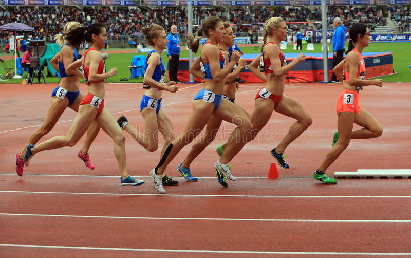 Athletes compete in the 1500 meters race on DecaNation International Outdoor Games on September 13, 2015 in Paris, France. royalty free stock photography