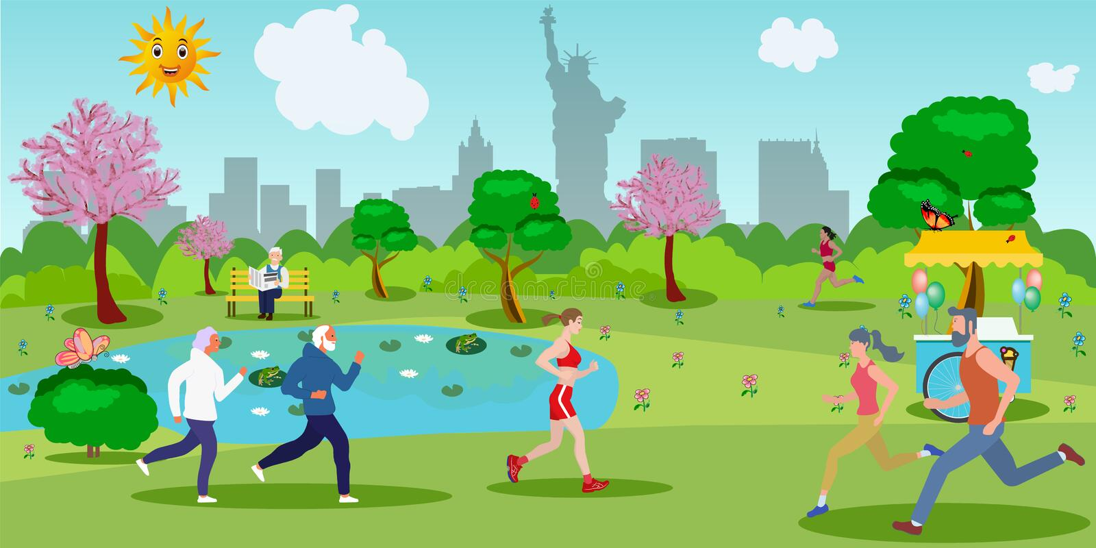 Athletes of different ages run. In a summer park royalty free illustration