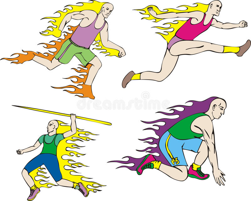 Download Athletes with flames stock vector. Image of athletics - 26016513