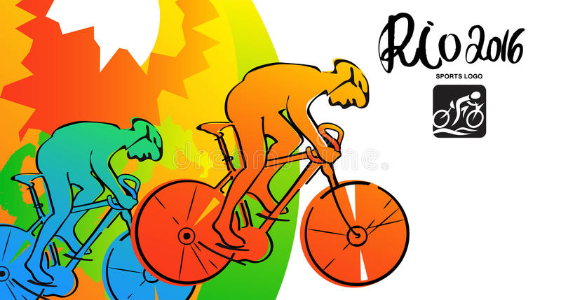 Athletes ink sketches. Cyclist sports cards, poster, illustration. Rio 2016 illustration stock illustration
