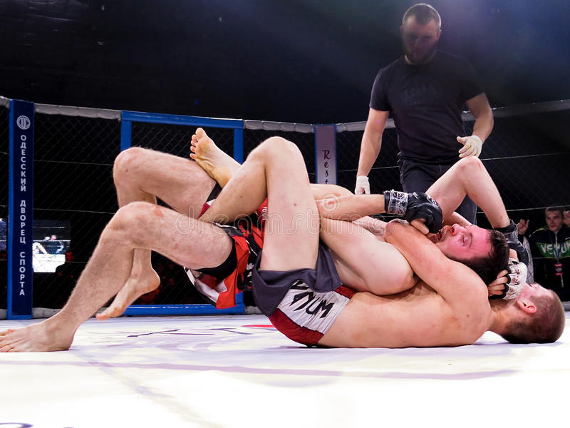 Athletes in the Octagonal ring for fights extreme Sport mixed martial arts competition tournament MMA MAXMIX. Odessa, Ukraine - 24 November 2015: Athletes in the stock photos