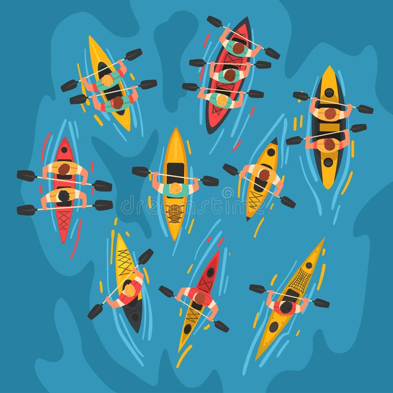 Free Athletes Paddling Kayaks Set, Kayaking Water Sport, Outdoor Activities In Summertime, Top View Vector Illustration Stock Photography - 148931192