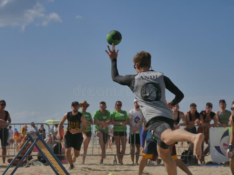 Beach TchoukBall Festival 2018 - Slam. Athletes playing in Beach Tchoukball Slam Tournament. The final match : The Zeroes Vs. De Chit Beach TchoukBall Festival stock images