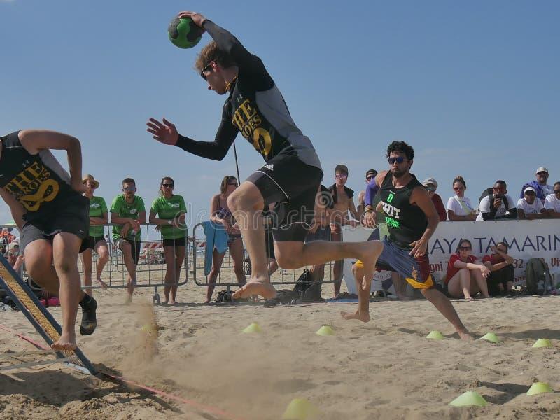 Beach TchoukBall Festival 2018 - Slam. Athletes playing in Beach Tchoukball Slam Tournament. The final match : The Zeroes Vs. De Chit Beach TchoukBall Festival royalty free stock photo