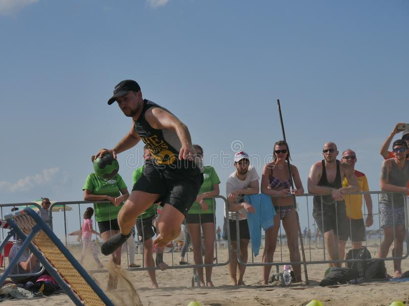 Beach TchoukBall Festival 2018 - Slam. Athletes playing in Beach Tchoukball Slam Tournament. The final match : The Zeroes Vs. De Chit Beach TchoukBall Festival stock photos
