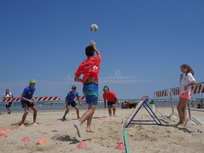 Beach TchoukBall Festival 2018 - Under. Athletes playing in Beach Tchoukball Under Tournament. Beach TchoukBall Festival - Viserba Rimini - May 2018 royalty free stock photos