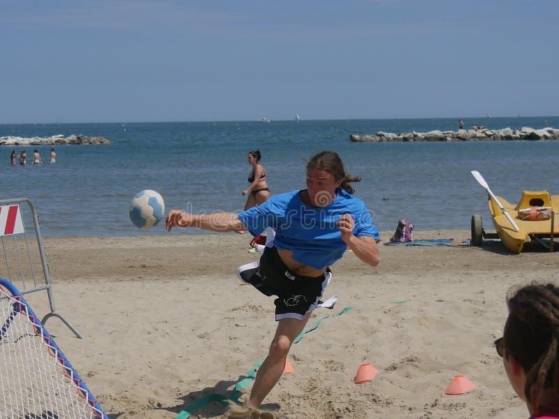 Beach TchoukBall Festival 2018 - Under. Athletes playing in Beach Tchoukball Under Tournament. Beach TchoukBall Festival - Viserba Rimini - May 2018 stock photos
