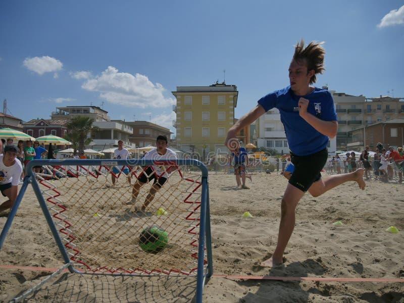 Beach TchoukBall Festival 2018 - Under. Athletes playing in Beach Tchoukball Under Tournament. Beach TchoukBall Festival - Viserba Rimini - May 2018 royalty free stock photo