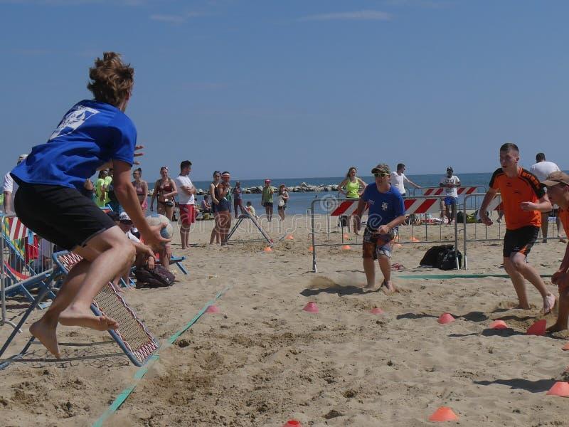Beach TchoukBall Festival 2018 - Under. Athletes playing in Beach Tchoukball Under Tournament.nBeach TchoukBall Festival - Viserba Rimini - May 2018 stock photo