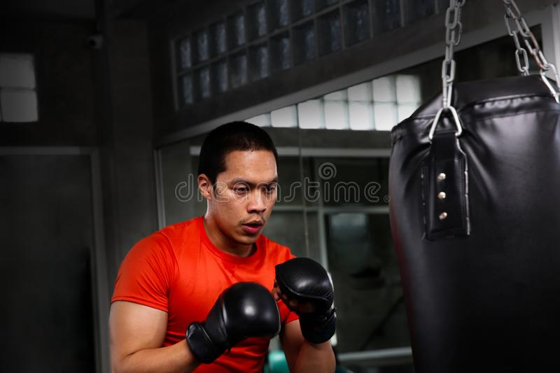 Athletes are punching in the gym. Male action of a boxing fighter training on a punching bag in the gym. Man boxer training is ex. Ercising with a punching bag royalty free stock photos
