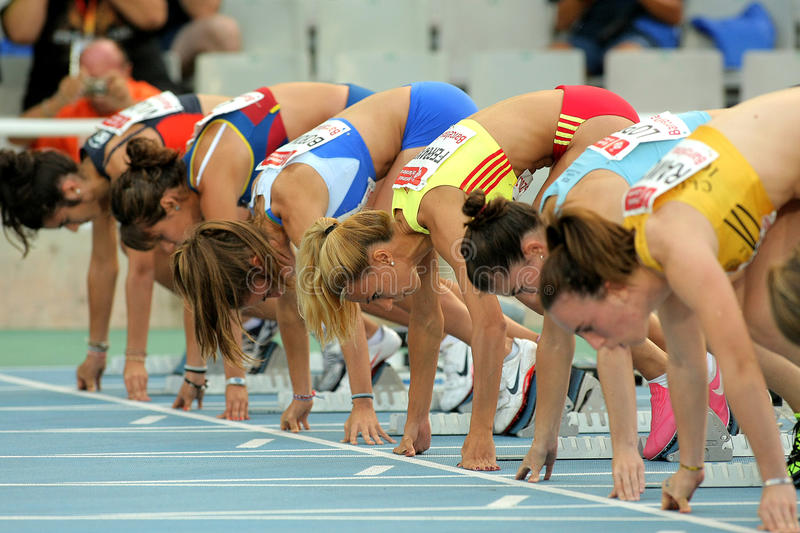 Download Athletes Ready On The Start Of 100m Editorial Stock Photo - Image: 20921358
