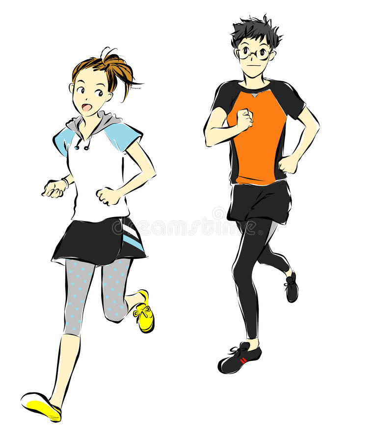 Athletes, runners. Young woman and man running vector illustration