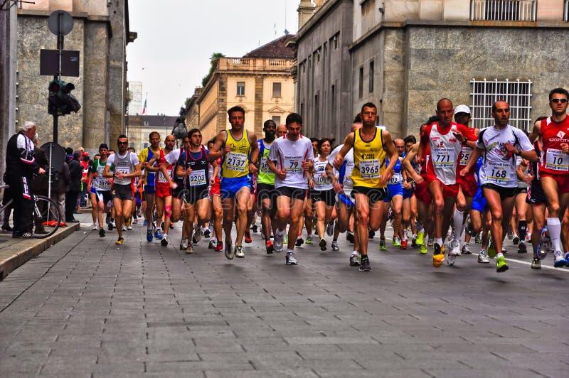 Athletes running royalty free stock photo