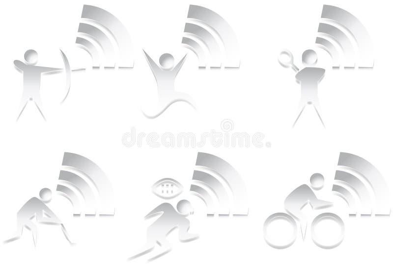 Athletic 3D Icon Set - Black and White stock illustration