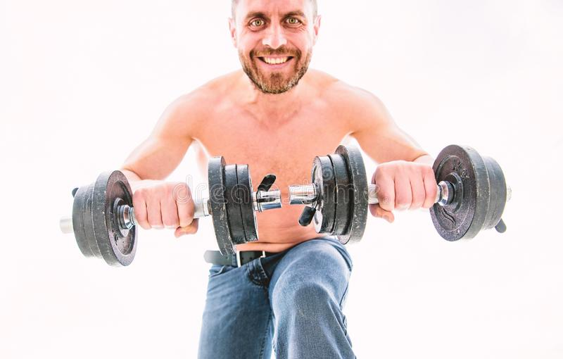 Athletic body. Dumbbell gym. fitness health diet. Muscular man exercising with barbell. man sportsman with strong ab stock image
