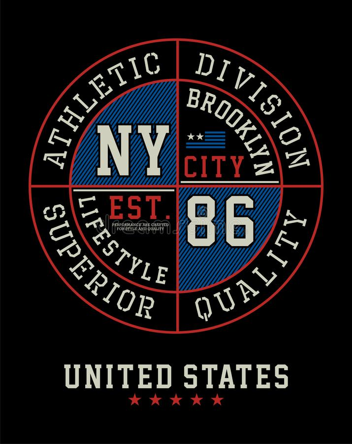 Athletic Brooklyn T-shirt Graphic, Vector Image. Athletic Brooklyn New York City Typography Design, Tshirt Graphic, Vector Image royalty free illustration