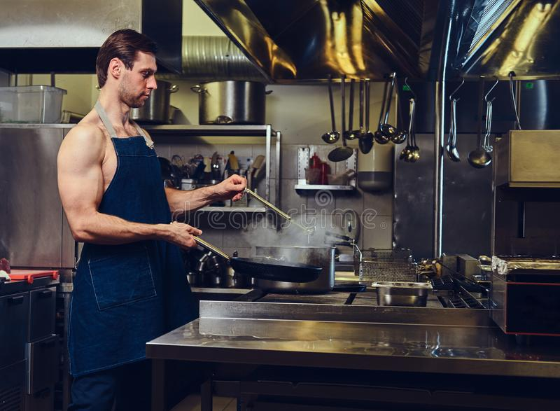 The chef preparing meat on a dry pan. stock photo