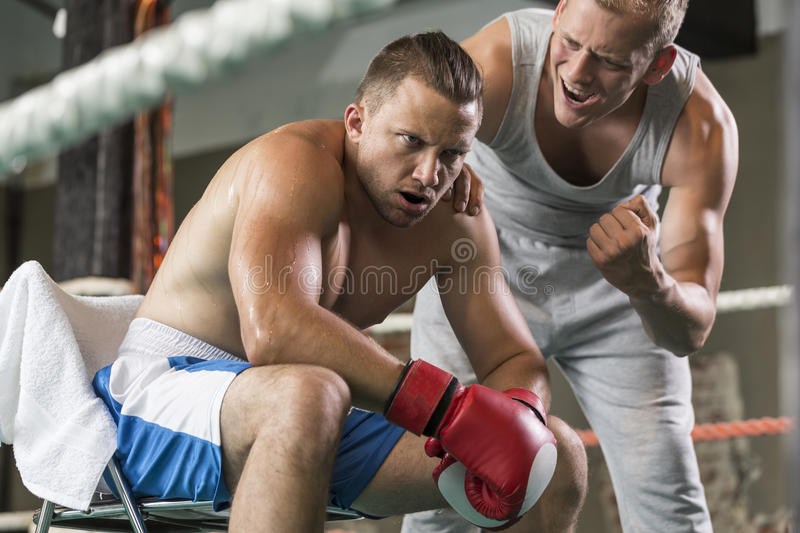 Athletic coach motivating tired boxer. During fight on a ring royalty free stock images