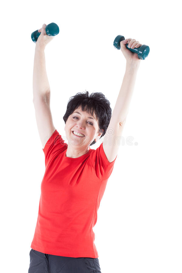 Athletic elderly woman stock photos