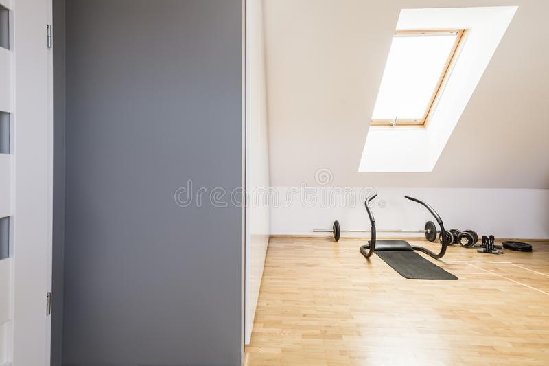 Athletic equipment on wooden floor in home gym interior in the a stock image