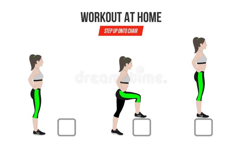 athletic exercises дом тренировки Шаг вверх на chiar иллюстрацию активного образа жизни иллюстрация вектора