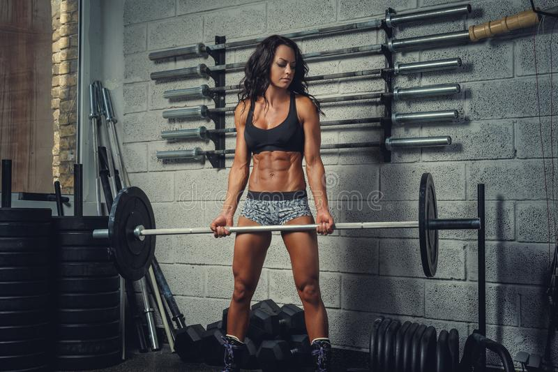 Athletic female holding barbell. royalty free stock photography
