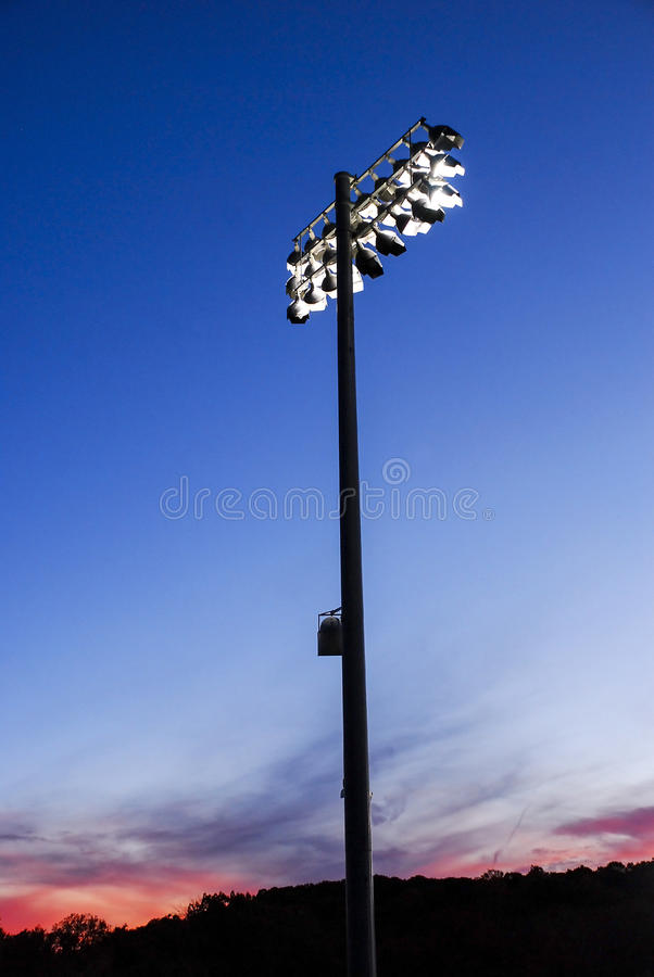 Athletic Field Lights at Dusk royalty free stock photo