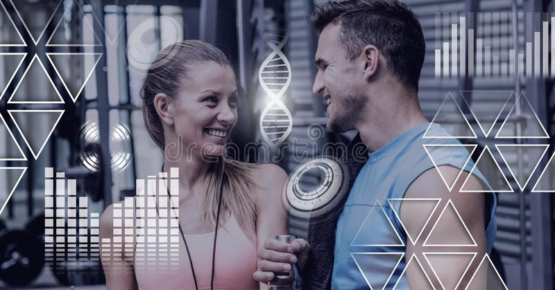 Athletic fit people in gym with health interface. Digital composite of Athletic fit people in gym with health interface royalty free stock images
