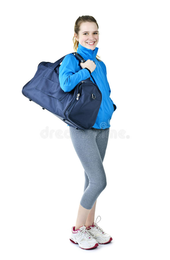 Download Athletic Girl With Gym Bag Ready For Workout Stock Photo - Image: 19672370