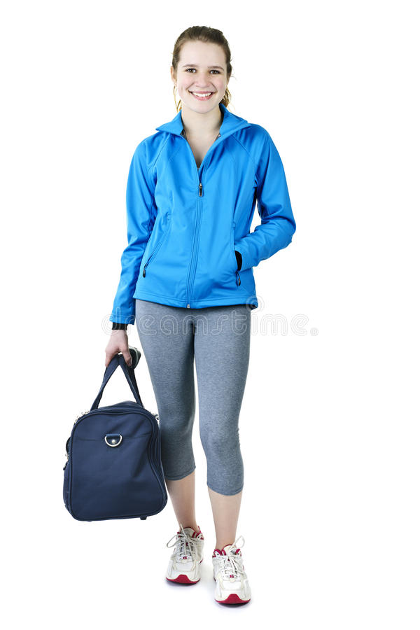 Download Athletic Girl With Gym Bag Ready For Workout Royalty Free Stock Photos - Image: 19741748