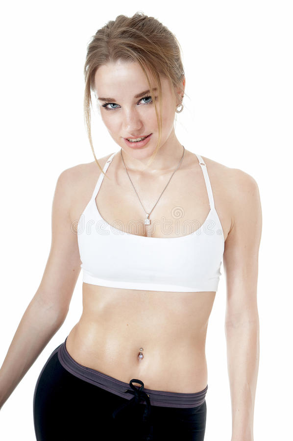 Athletic girl with a perfect body. royalty free stock photography