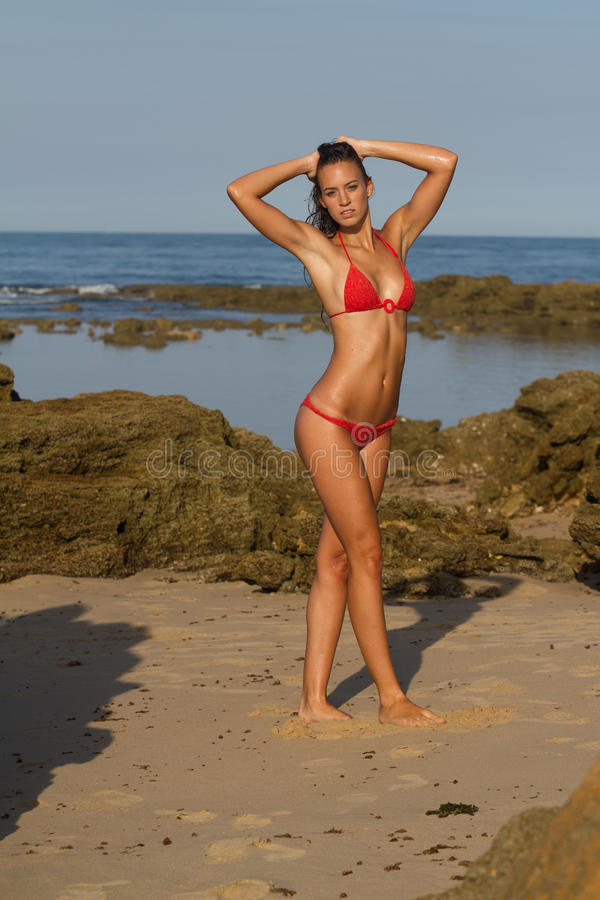 Download Athletic Girl In Red Bikini Stock Image - Image: 25945083