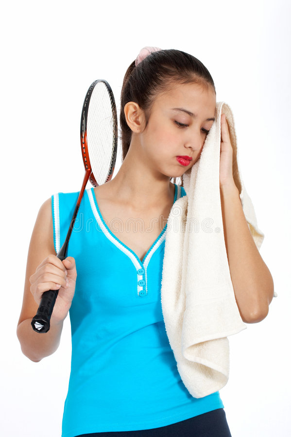 Athletic girl wiping