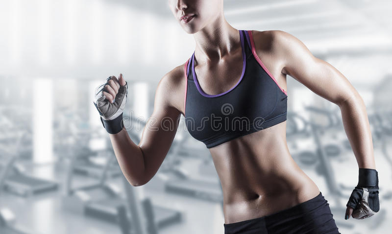 Athletic girl. Young beautiful athlete woman in the gym stock images
