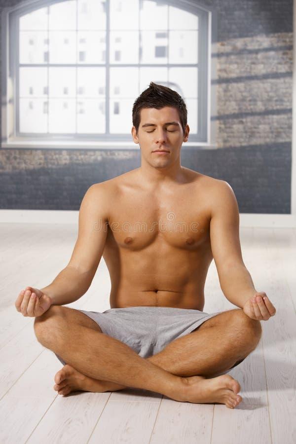 Download Athletic guy meditating stock image. Image of fresh, adult - 22047621
