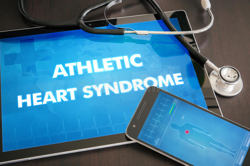 Athletic heart syndrome (heart disorder) diagnosis medical concept on tablet screen with stethoscope stock photo