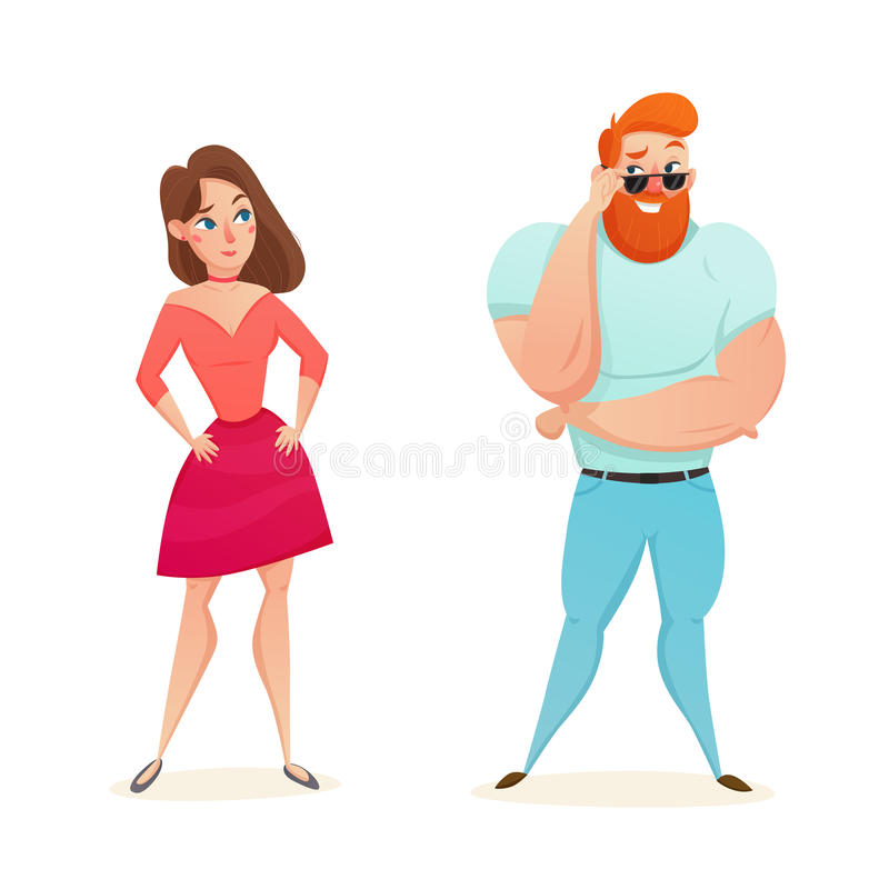 Athletic Macho Flirting With Young Girl. Cartoon figurines of athletic muscular macho flirting with young girl flat isolated vector illustration stock illustration