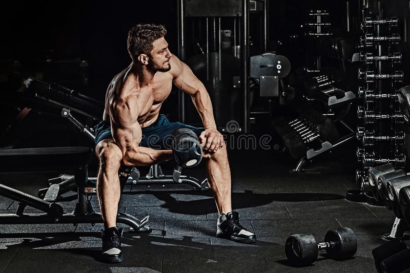 Athletic man bodybuilder execute exercise with dumbbells for biceps and sitting in dark gym stock images